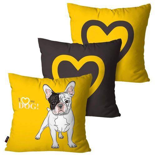 Kit com 3 Capas para Almofadas Decorativas Amarelo Love Dog