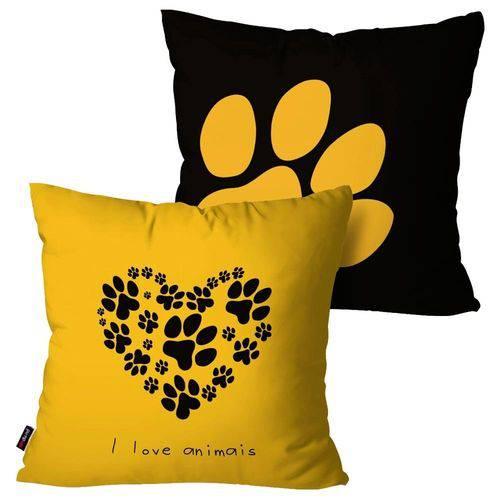 Kit com 2 Capas para Almofadas Decorativas Amarelo Love Patinhas
