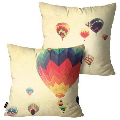 Kit com 2 Capas para Almofadas Decorativas Bege Balões