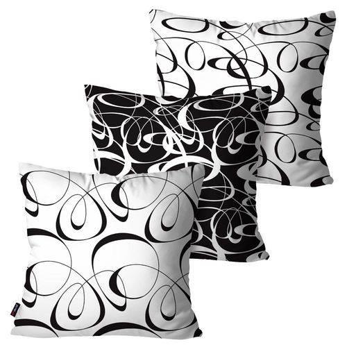 Kit com 3 Capas para Almofadas Decorativas Branco Curvas