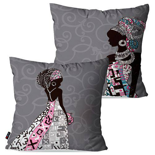 Kit com 2 Capas para Almofadas Decorativas Cinza Africanas