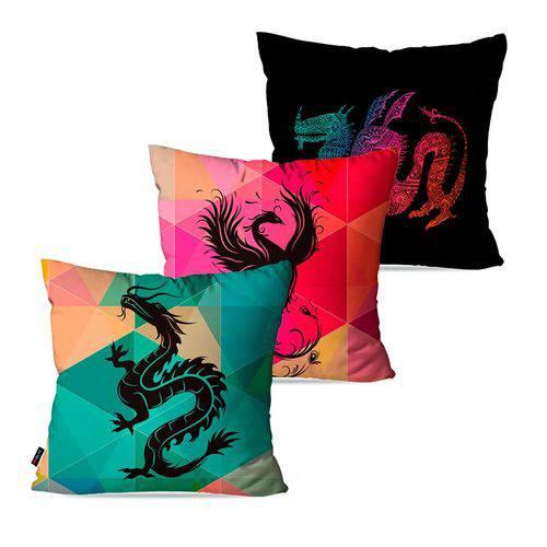Kit com 3 Capas para Almofadas Decorativas Colors Dragão Chinês
