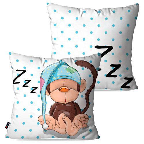 Kit com 2 Capas para Almofadas Decorativas Infantil Branco Macaco Zzz
