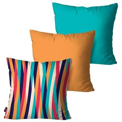 Kit com 3 Capas para Almofadas Decorativas Listras Laranja Coloridas