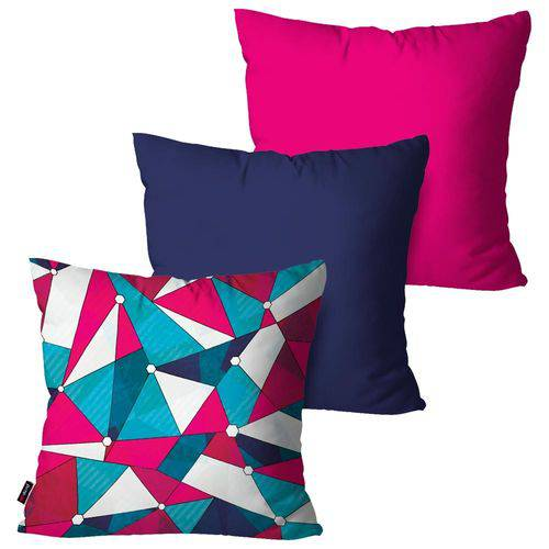 Kit com 3 Capas para Almofadas Decorativas Pink Geométricas Collors