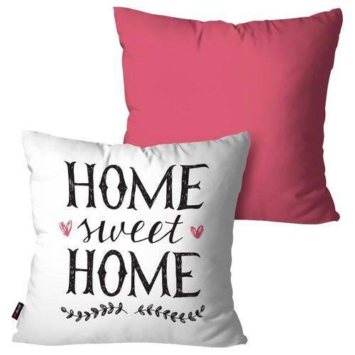 Kit com 2 Capas para Almofadas Decorativas Rosa Home Sweet Home