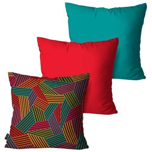 Kit com 3 Capas para Almofadas Decorativas Vermelho Geométrica