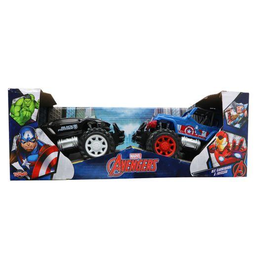 Kit com 2 Carrinhos Fricção Pantera Negra e Capitão América - Toyng