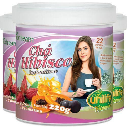 Kit com 3 Chá de Hibisco Solúvel 220g Unilife