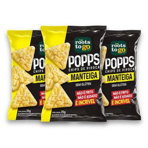 Kit com 3 Chips de Pipoca POPPS Sabor Manteiga 35g