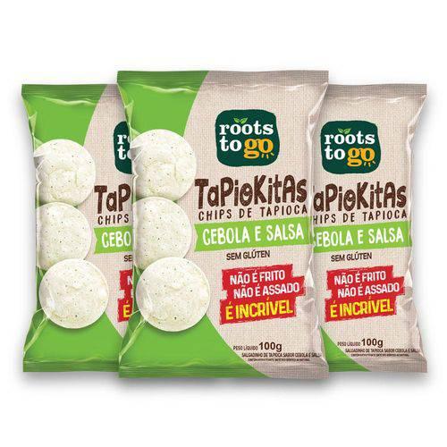 Kit com 3 Chips de Tapioca TAPIOKITAS Sabor Cebola e Salsa 100g