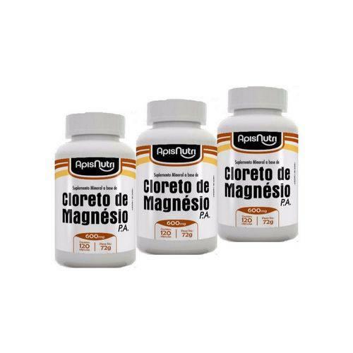 Kit com 3 Cloreto de Magnésio P.A Apisnutri 600mg com 120 Cápsulas Cada