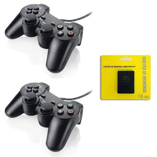 Kit com 2 - Controle Playstation 2 + 1 Memory Card 16mb
