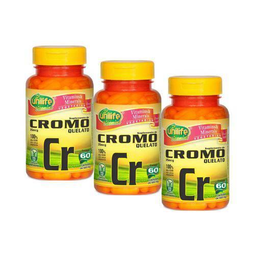 Kit com 3 Cromo Quelato Cr 500mg - Unilife - 60 Cápsulas