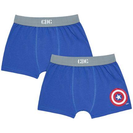 Kit com 2 Cuecas Boxer Captain America - Cara de Criança