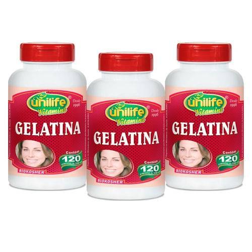Kit com 3 Gelatina - Unilife - 120 Cápsulas