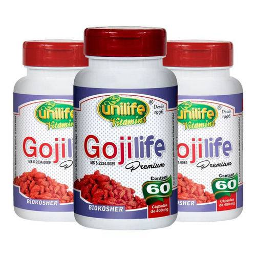 Kit com 3 Goji Berry Goji Life Premium - Unilife - 60 Cápsulas