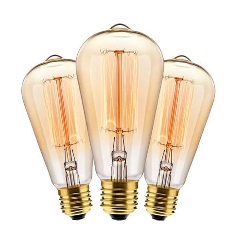 Kit com 3 Lâmpadas Filamento Carbono ST64 40w 127V 2000K 48LCARST6401 Elgin