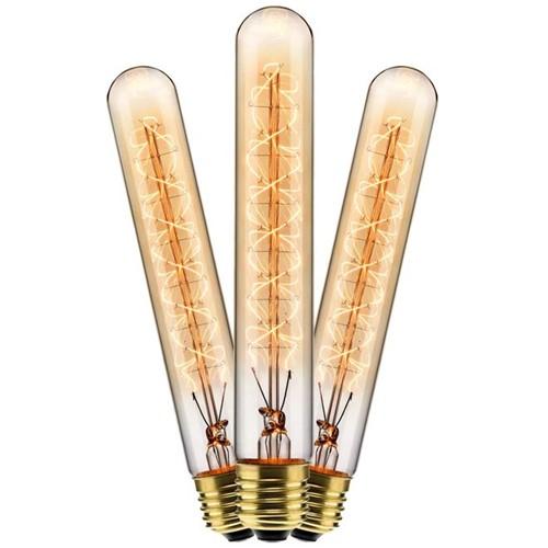 Kit com 3 Lâmpadas Filamento Carbono T30 40w 220V 2000K 48LCART30002 Elgin