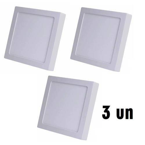 KIT COM 3 Painel Plafon 18w Luminaria Led Quadrado Sobrepor