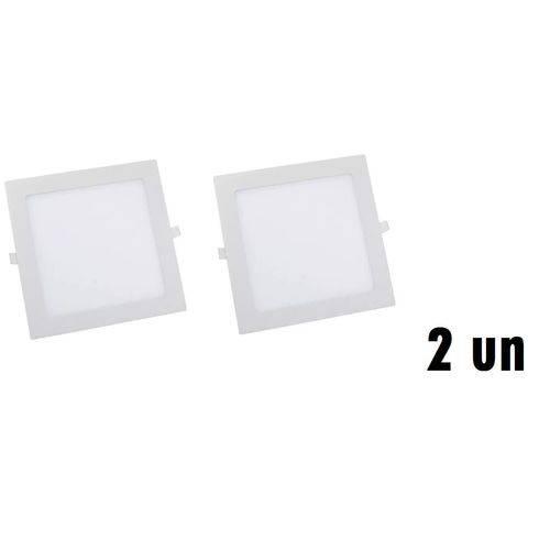 KIT COM 2 Painel Plafon 12w Luminaria Led Quadrado Embutir