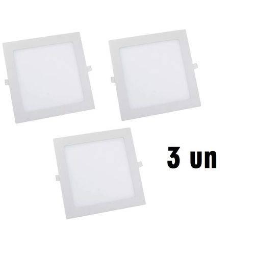 KIT COM 3 Painel Plafon 24w Luminaria Led Quadrado Embutir