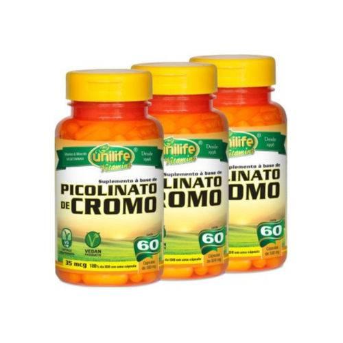 Kit com 3 Picolinato de Cromo - Unilife - 60 Cápsulas