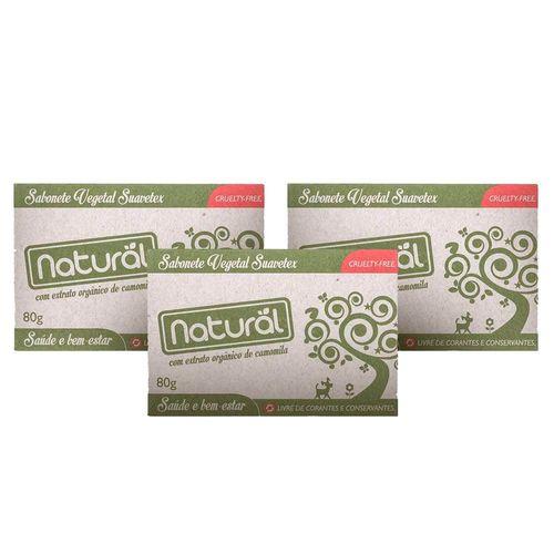 Kit com 3 Sabonetes Vegetal Natural Suavetex com Extrato de Camomila 80g - Orgânico Natural