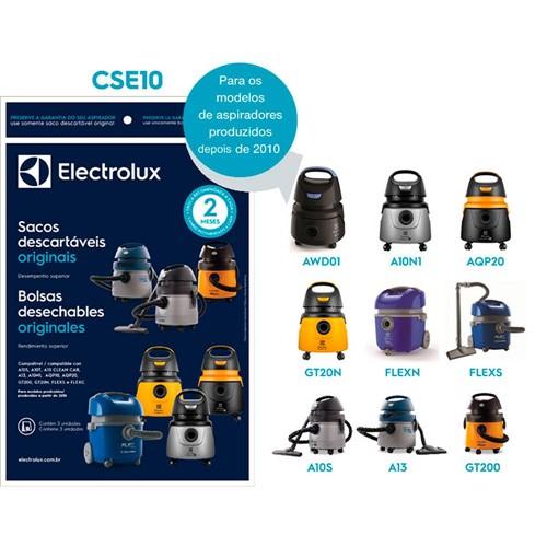 Kit com 3 Sacos Descartáveis Electrolux para Aspirador de Água e Pó Modelos A10Smart A10T A13 A10 Clean Clear e GT2000