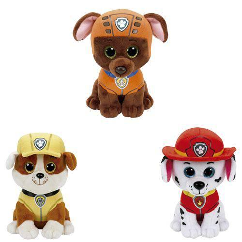 Kit com 3 Ty Beanie Boos Patrulha Canina Zuma/Rubble/Marshall - Original Dtc