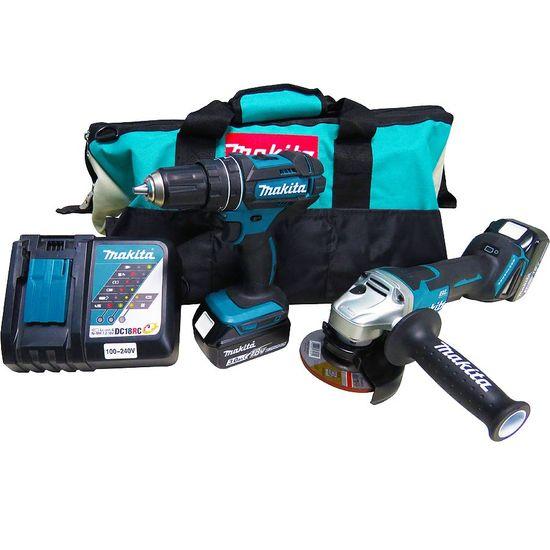 Kit Combo Furadeira de Impacto e Parafusadeira a Bateria + Esmerilhadeira Angular DLX2165 - Makita