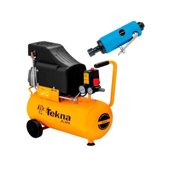 Kit Compressor de Ar 24L CP8525 Tekna + Retífica Reta G1176 Gamma