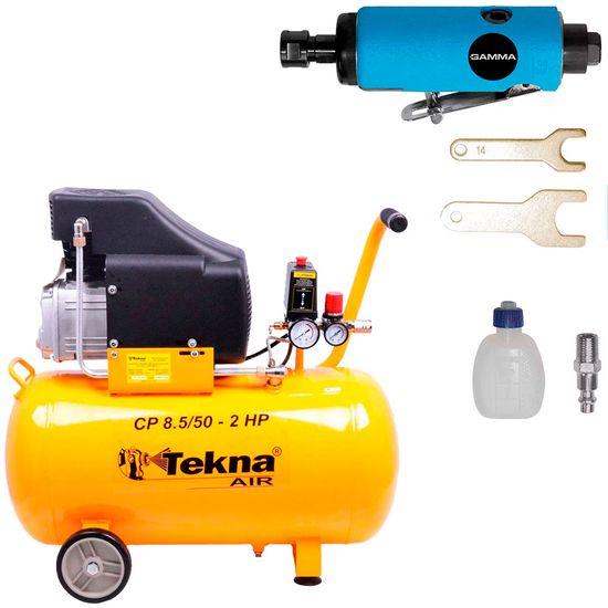 Kit Compressor de Ar 50L CP8550 Tekna + Retífica Reta G1176 Gamma