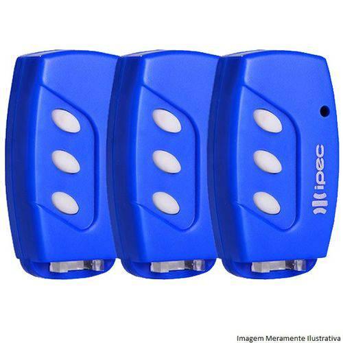 Kit 3 Controles Remoto Tx Deco 433mhz Ipec Azul
