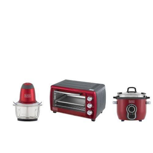 Kit Cozinha Panela Elétrica + Forno Elétrico + Miniprocessador Linha Gift Black+Decker 220V