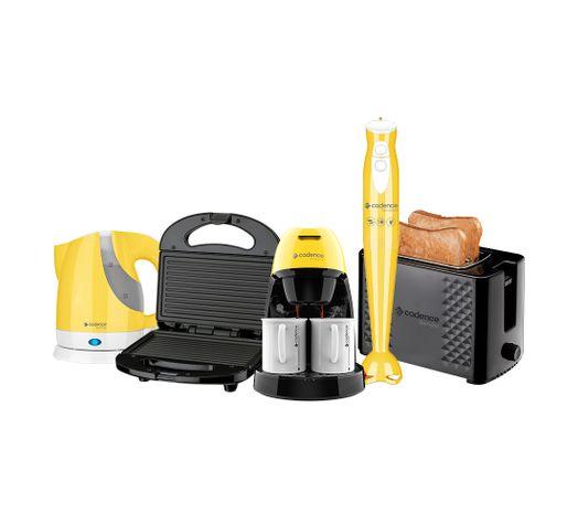 Kit Cozinha Preta e Amarela Cadence - 127V