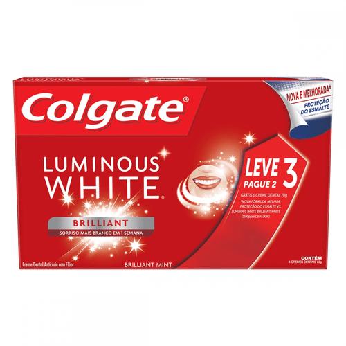 Kit Creme Dental Colgate Luminous White 70g 3 Unidades