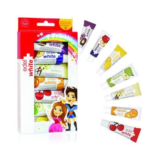 Kit Creme Dental Fruchtli Kids Edel White 7 Sabores
