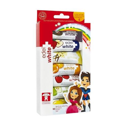 Kit Creme Dental Infantil Edel White Fruchtli com 7 Sabores Sortidos