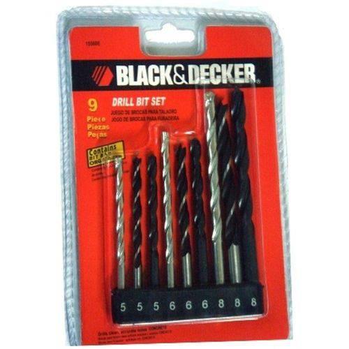 Kit de 9 Brocas Metal Madeira Concreto Blackdecker 15560e