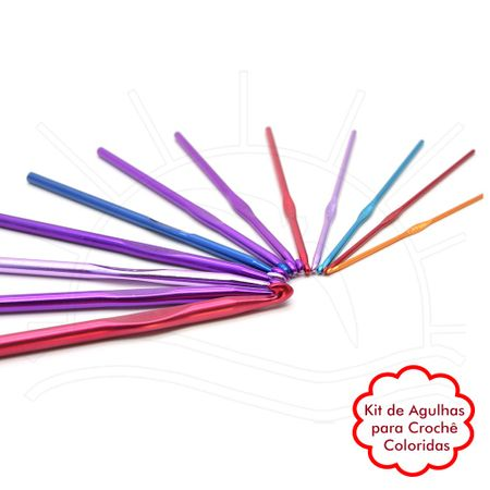 Kit de Agulhas para Crochê Coloridas - 12 Unidades