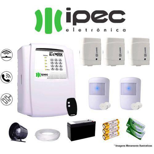 Kit de Alarme Residencial IPEC 3 Sensores Magnético 2 Sensores Infravermelho S/ FIo Completo