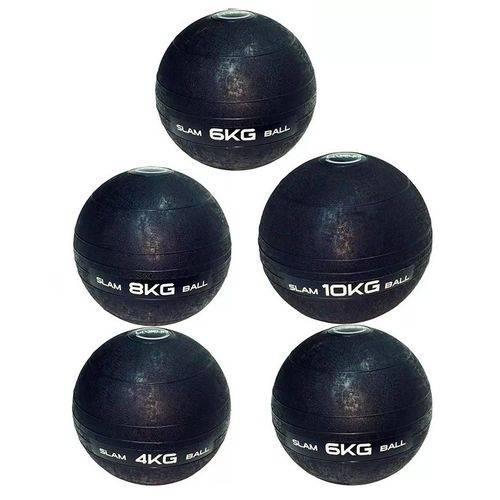 Kit de Bola Medicine Slam Ball para Crossfit 4 Kg, 2x 6 Kg, 8 Kg e 10 Kg Liveup Ls3004