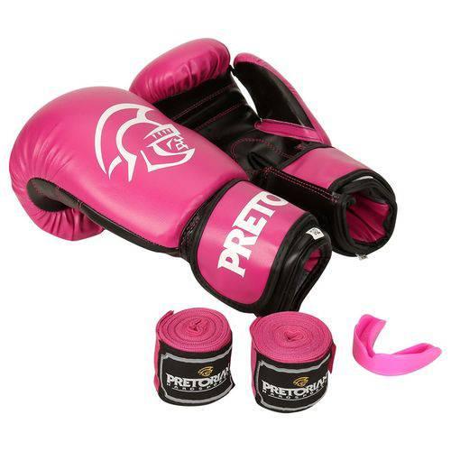 Kit de Boxe / Muay Thai 10oz Feminino - Rosa - First - Pretorian