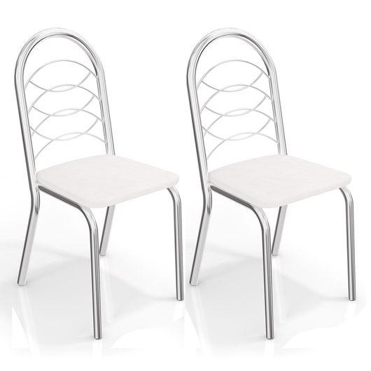 Kit de Cadeiras com 2 Unidades, Cromada, Branco, Amsterdam III