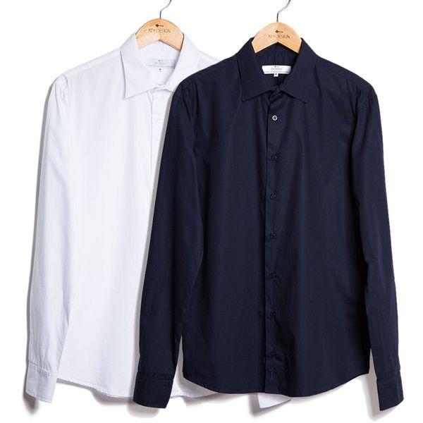 Kit de 2 Camisas de Algodão S/ Bolso - Branca e Azul Marinho