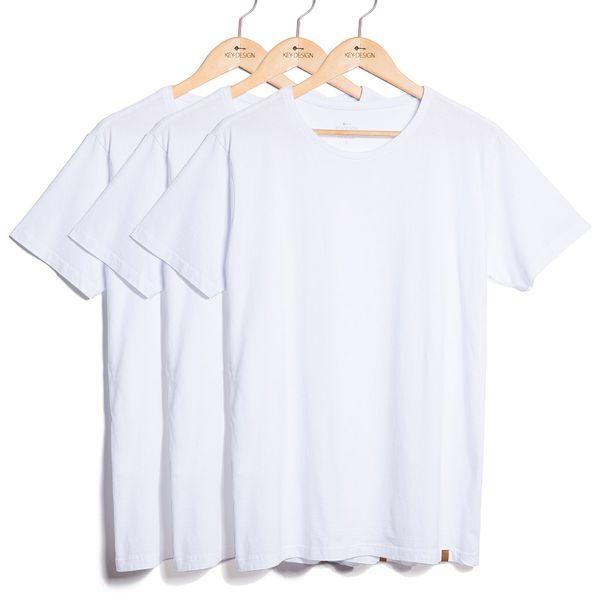 Kit de 3 Camisetas Básicas - Brancas