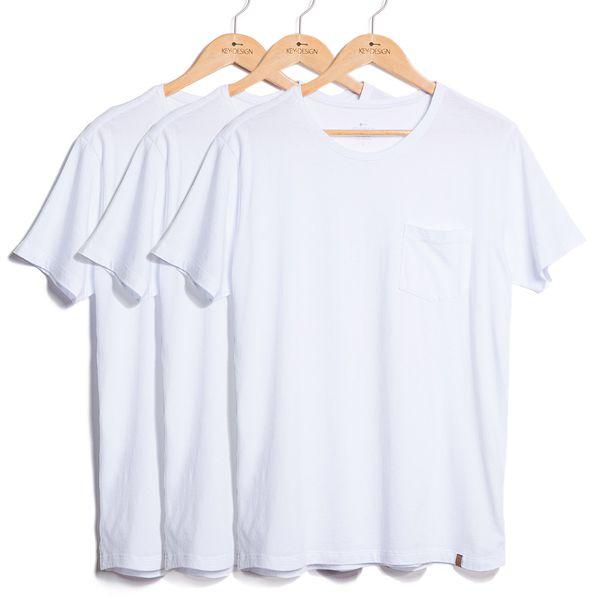 Kit de 3 Camisetas Básicas com Bolso- Brancas