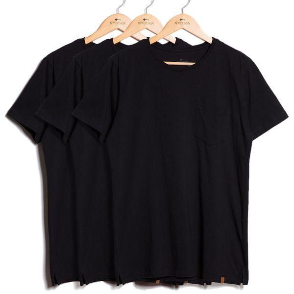 Kit de 3 Camisetas Básicas com Bolso - Pretas