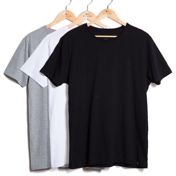 Kit de 3 Camisetas Básicas (G) Preta, Branca e Cinza